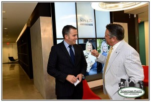 David DiPietro, left, with Chip LaMarca, attending a Judge Nina Weatherly DiPietro fundraiser at Zimmerman Advertising